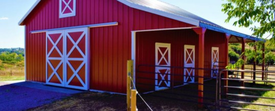 Projects metal buildings storage sheds garages pole for Red barn prefab